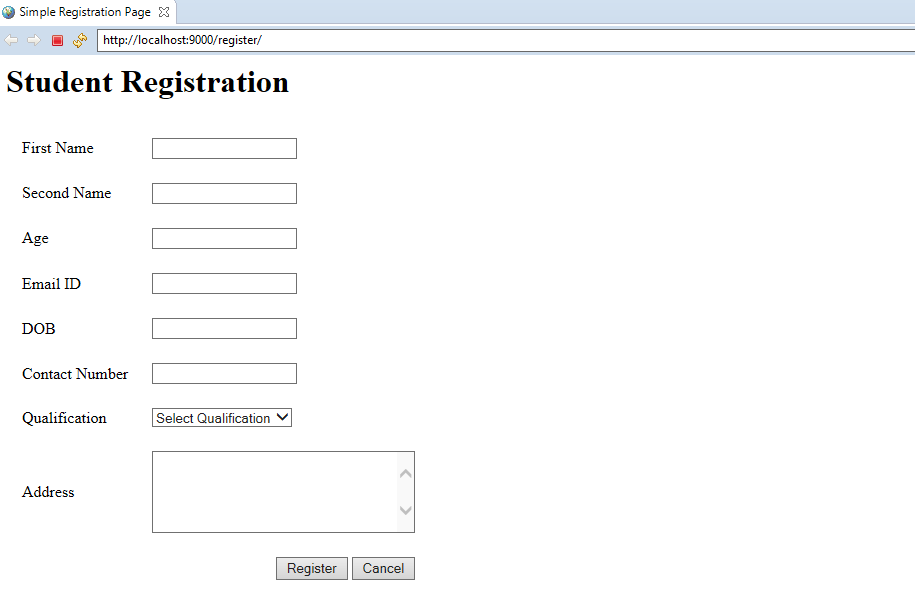 Simple Registration Application using Servlet, JSP, and JDBC Example